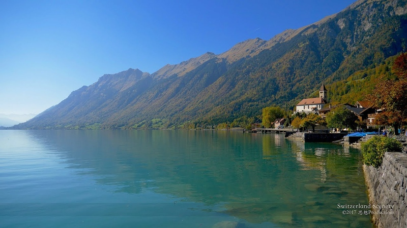 4K Lake Brienz Berner Oberland SWITZERLAND アルプス山脈