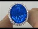 Worlds Largest Certified 42.44 London Blue Topaz Diamond Ring VVS/VS Diamonds Heavy Solid 14K Gold