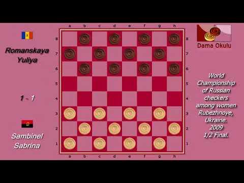 Romanskaya Yuliya (MDA) - Sambinel Sabrina (AO). World Draughts-64_women. Semifinal.