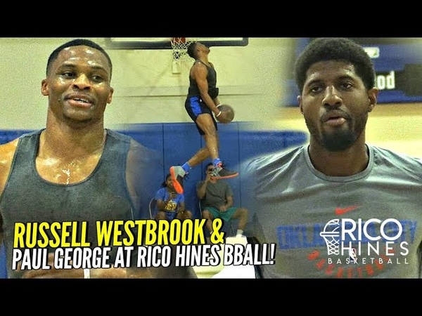 Russell Westbrook Paul George TEAM UP at Rico Hines Run at UCLA!! Russ CRAZY Dunks!