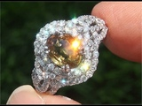 GIA Certified UNHEATED Natural Fancy Yellow Sapphire Diamond 18k White Gold Engagement Ring - C553