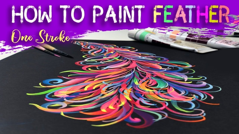 How to Paint Colorfull Feather! | One Stroke | Easy Quick | Tutorial How to Paint