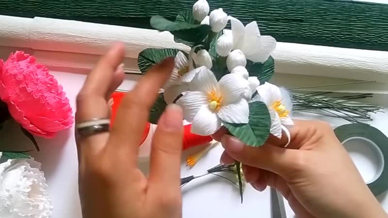 Grapefruit blossom paper flower - Làm hoa bưởi từ giấy nhún