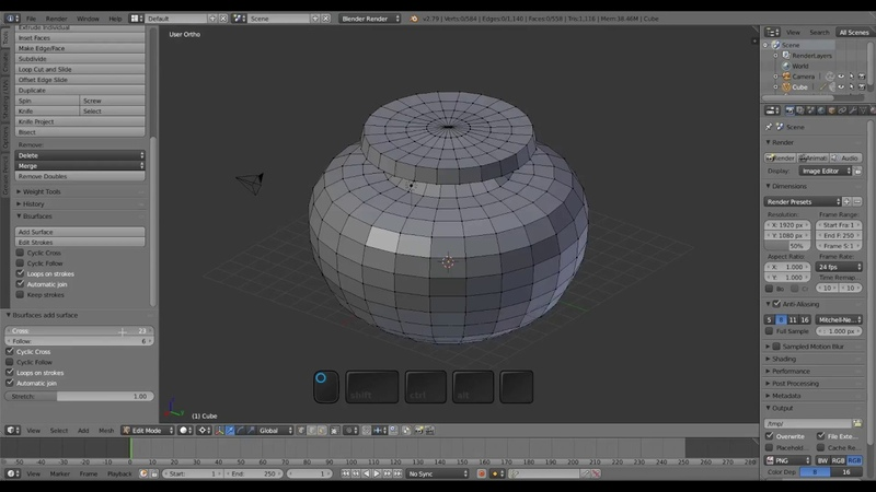 Modeling with Bsurfaces and Grease Pencil in Blender 2.79