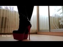 My shoes collection - red black heels boots