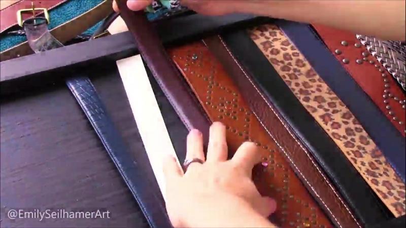 Приятный столик декорированный ремнями своими руками