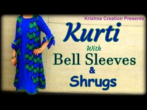 Bell Sleeve Cutting with A line Pattern Kurti Kurti with Shrug DIY from Old Saree