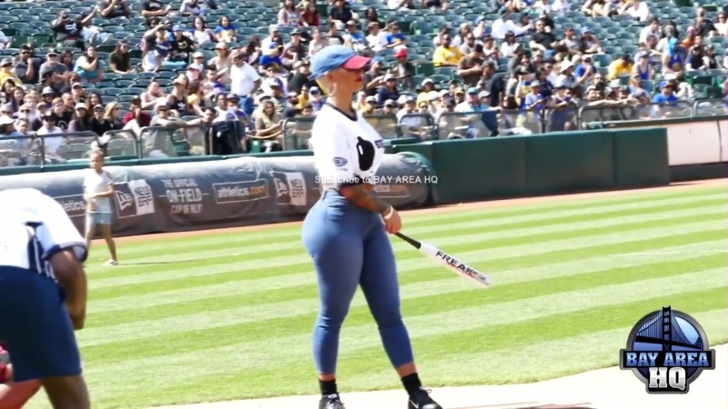 BATTER UP AMBER ROSE SEXY JEANS CAM at JAVALE McGEE WARRIORS JUGLIFE SOFTBALL G