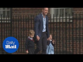 Prince William brings George and Charlotte to meet royal baby brother - Daily Mail