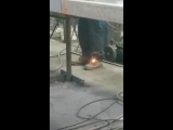Welder Fails to Notice Boot is on Fire - 986922