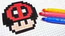 Handmade Pixel Art - How To Draw a Deadpool Mushroom pixelart