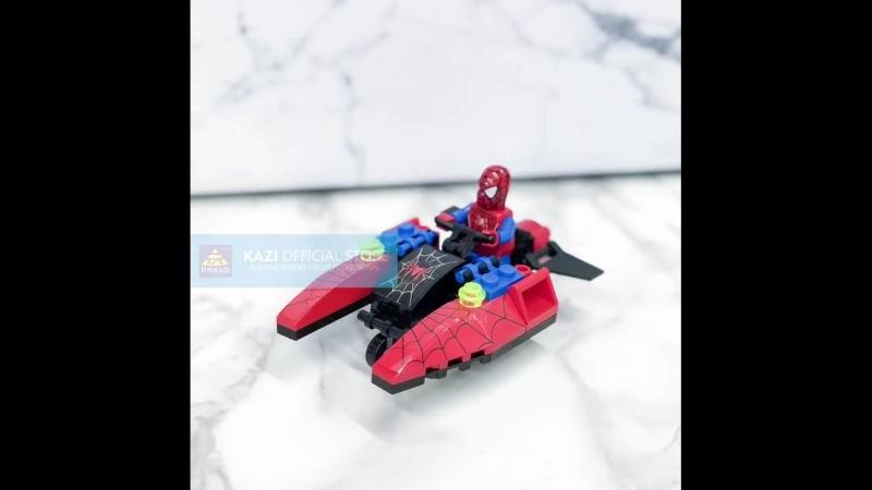 KAZI 6005 Spiderman Fire Bird Model Building Block Toy Super Heroes Fighter Blocks Enlighten Action Figure Toys For Children