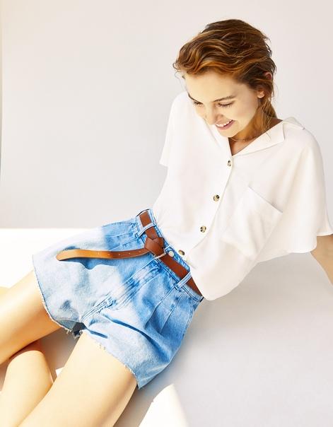 Джинсовые шорты tailoring с защипами