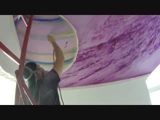 Космос в детской на потолке. Аэрография, роспись стен