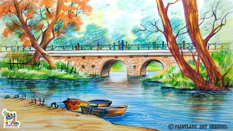 How To Draw A Very Simple Scenery With Bridge For Beginners | Step by Step