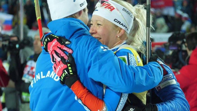 Martin Fourcade Johannes Boe Kaisa Makarainen in Tyumen 2018. Biathlon IBU. Emotions in slow-mo