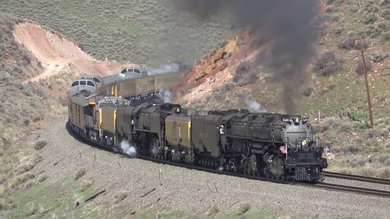 UP Big Boy 4014, 844 at Stowe Creek, near Evanston, WY 5-13-19