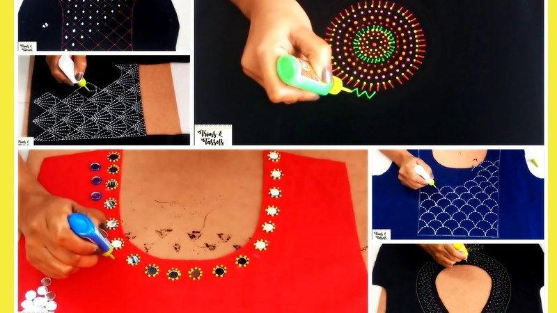 Liquid Embroidery Designs for Kurtis Saree Blouses Mirror beads work Embroidery designs