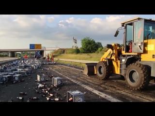 Октоберфест под угрозой: 7 000 бутылок пива разбились на шоссе в Германии