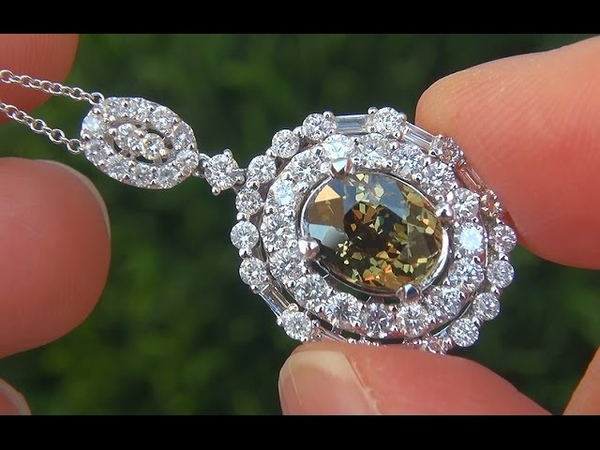 GIA Certified VVS Color Change FLASH Demantoid Garnet Diamond 18k Pendant Necklace - A141011a