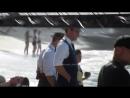 Five-0 Alex Oloughlin and Scott Caan behind the scenes filmed on Waikiki Beach.