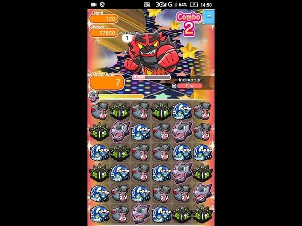 Pokemon Shuffle - Incineroar Escalation Battle 120 lvl