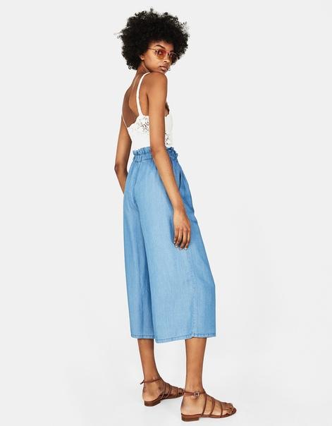 Укороченные брюки-кюлоты из лиоцелла с поясом