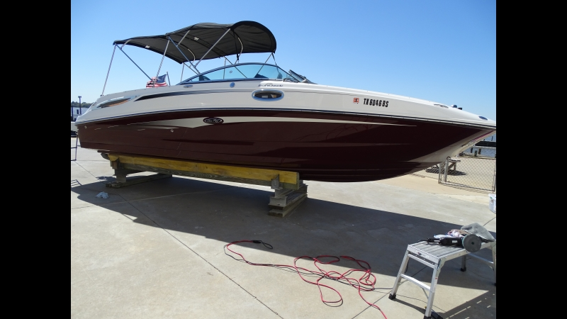 28ft Sea Ray Sundeck full gelcoat correction 21 RUPES Bigfoot polisher Jeff Suggs