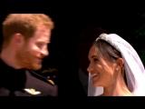 Первый поцелуй принца Гарри и Меган Маркл в качестве мужа и жены