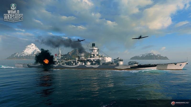 WoWs Blitz. German. Scharnhorst. Обкатка в прямом эфире. Стрим.