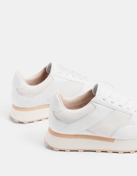 Белые комбинированные кроссовки на платформе