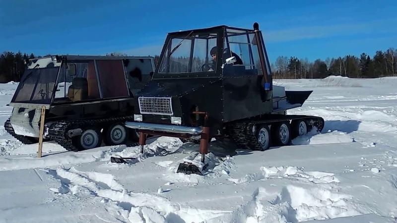 Проверяем самодельные гусеничные вездеходы по глубокому снегу