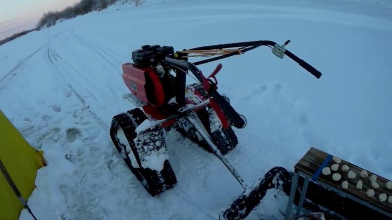 Мотоблок снегоход в деле ,на рыбалке.