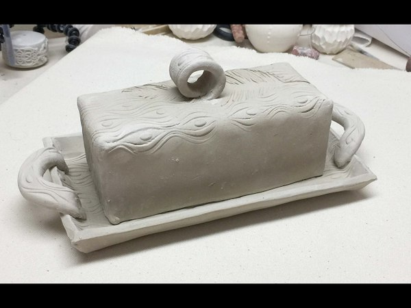 Creating a Lidded Butter Dish with a Textured Slab and a Focal Accent Ceramics II