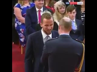 Harry Kane today collected his MBE for services to football from Prince William at Buckingham Palace