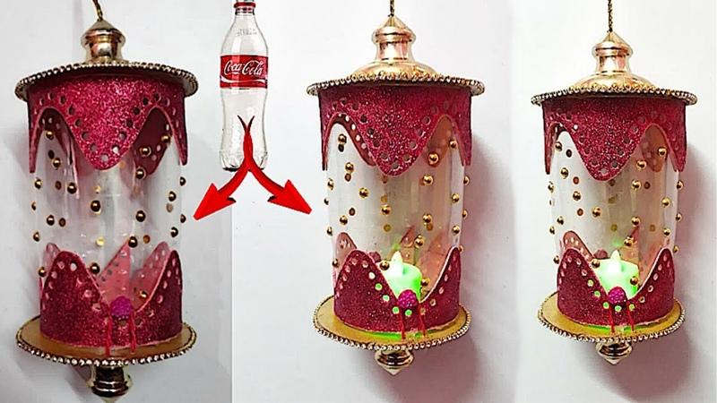 DIY Lantern Akash kandil from plastic bottle glitter sheet DIY Diwali Christmas Decorations Idea