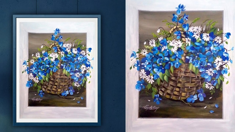 Easy Acrylic Painting - Relaxing Demo - Fun painting - Canvas Painting - Simple Floral Painting