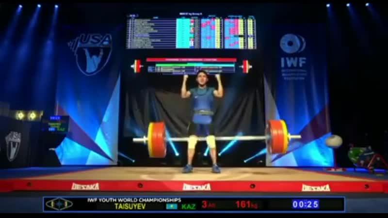 Қазақстандық Сайхан Тайсуев ауыр атлетикадан АҚШ та әлем рекордын жаңартты