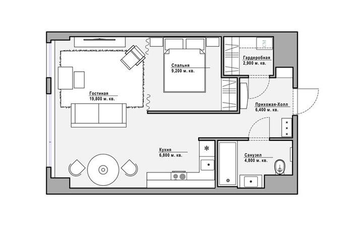 Интерьер квартиры 50 м с уклоном в ар-деко в Москве.