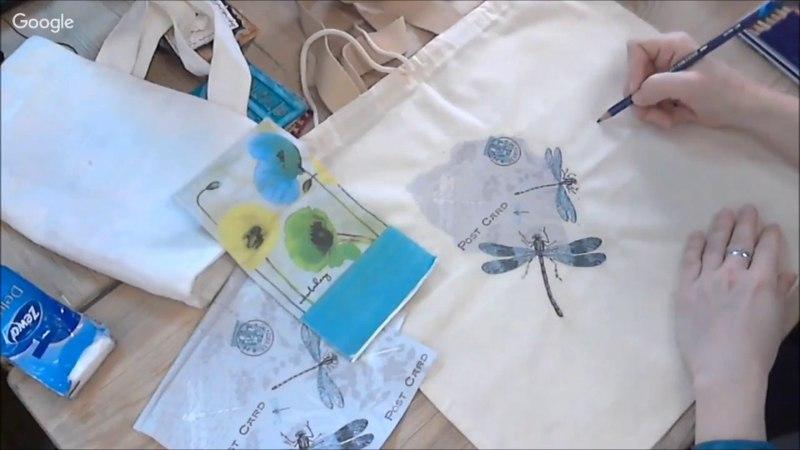 Карандаши со стойким чернильным эффектом в микс медиа декоре по ткани: видео урок Натальи Жуковой