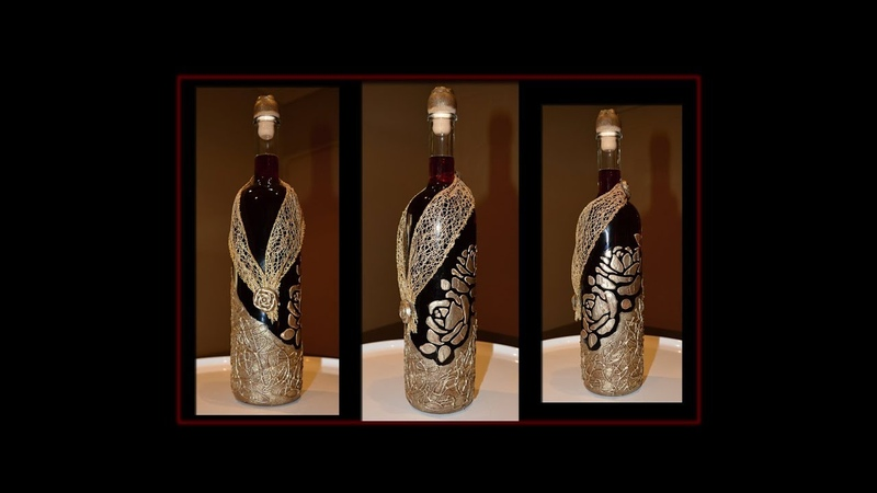 Glass bottle decorated with modeling paste and crafts glue tutorial