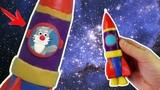 РАКЕТА В КОСМОСЕ - ПЛАСТИЛИНОВЫЙ МУЛЬТФИЛЬМ. Как слепить ракету из пластилина Видео Лепка