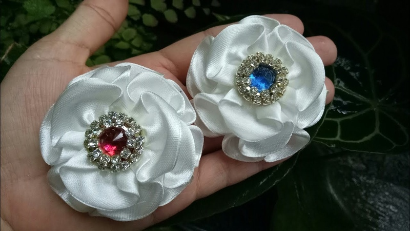 152 DIY Tutorial Cara Membuat Bros Bunga How to Make Ribbon Flower Kanzashi