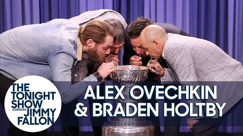 Alex Ovechkin, Braden Holtby Triple Crown Jockey Mike Smith Drink from Stanley Cup [Рифмы и Панчи]