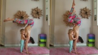 Video:Carlee Benear does yoga headstand while breastfeeding daughter