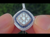 NEW Certified Natural Blue Sapphire Diamond 14k White Gold Pendant Necklace - C413