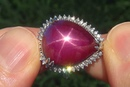 Estate Natural Star Ruby Diamond 14k White Gold Cocktail Ring Certified - C530