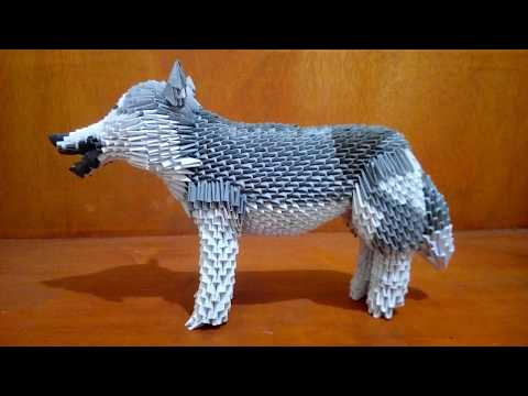 Paper craft 3d origami husky quick tutorial