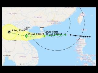 Тропический шторм (тайфун) SON-TINH идет в Южно-Китайском море на Цюнхай, в 100 километрах от Санья, остров Хайнань, Китай
