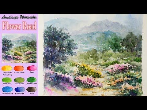 풍경수채화 - 꽃길 (습식기법, 아르쉬 황목)[남일 수채화] Flower Road - Landscape Watercolor(wet-in-wet, Arches) NAMIL ART